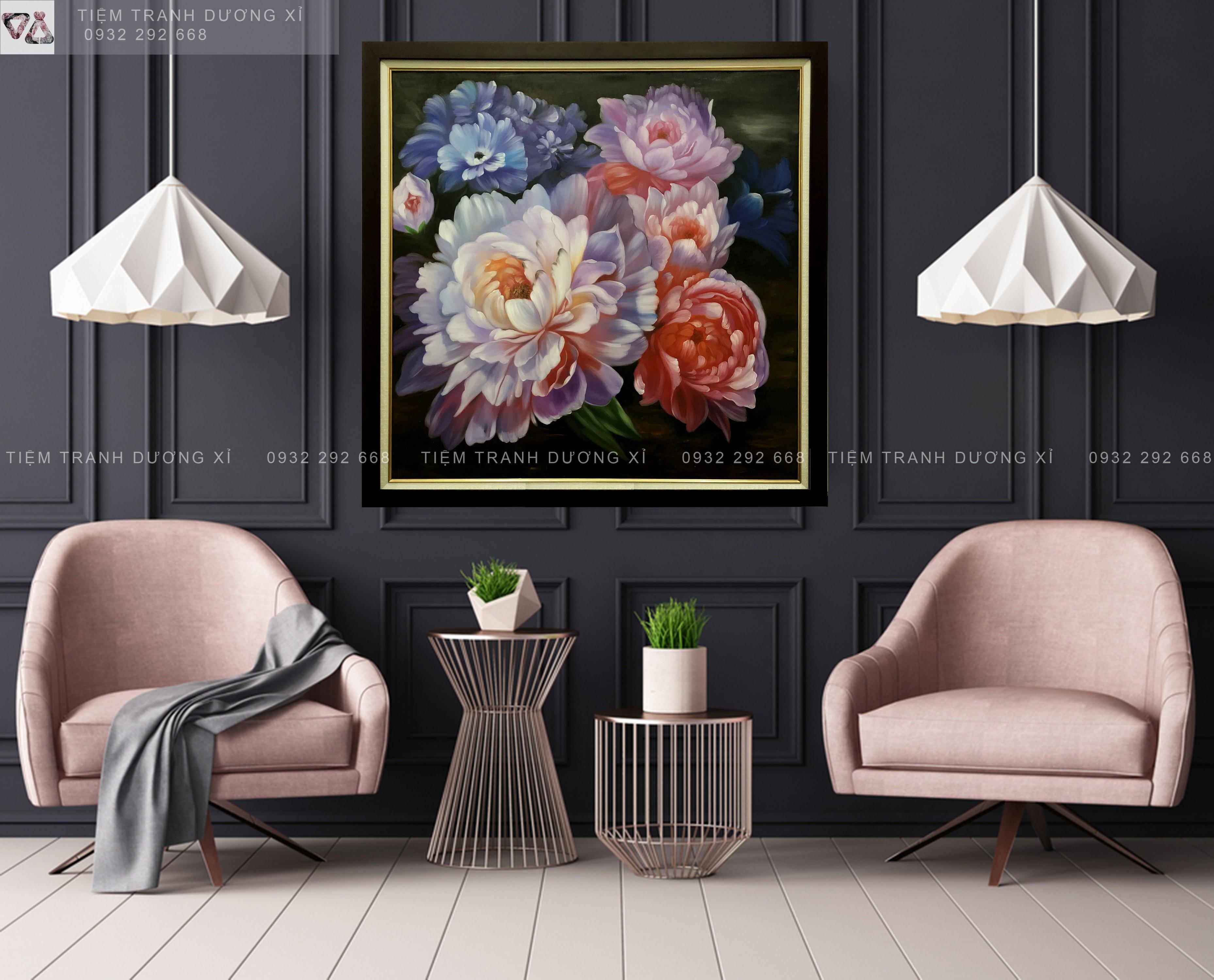 Tranh sơn dầu trang trí hoa SD03
